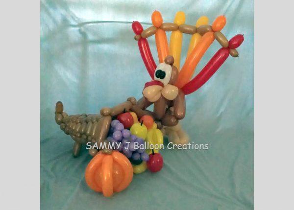 turkey cornucopia bouquet by SAMMY J Balloon Creations