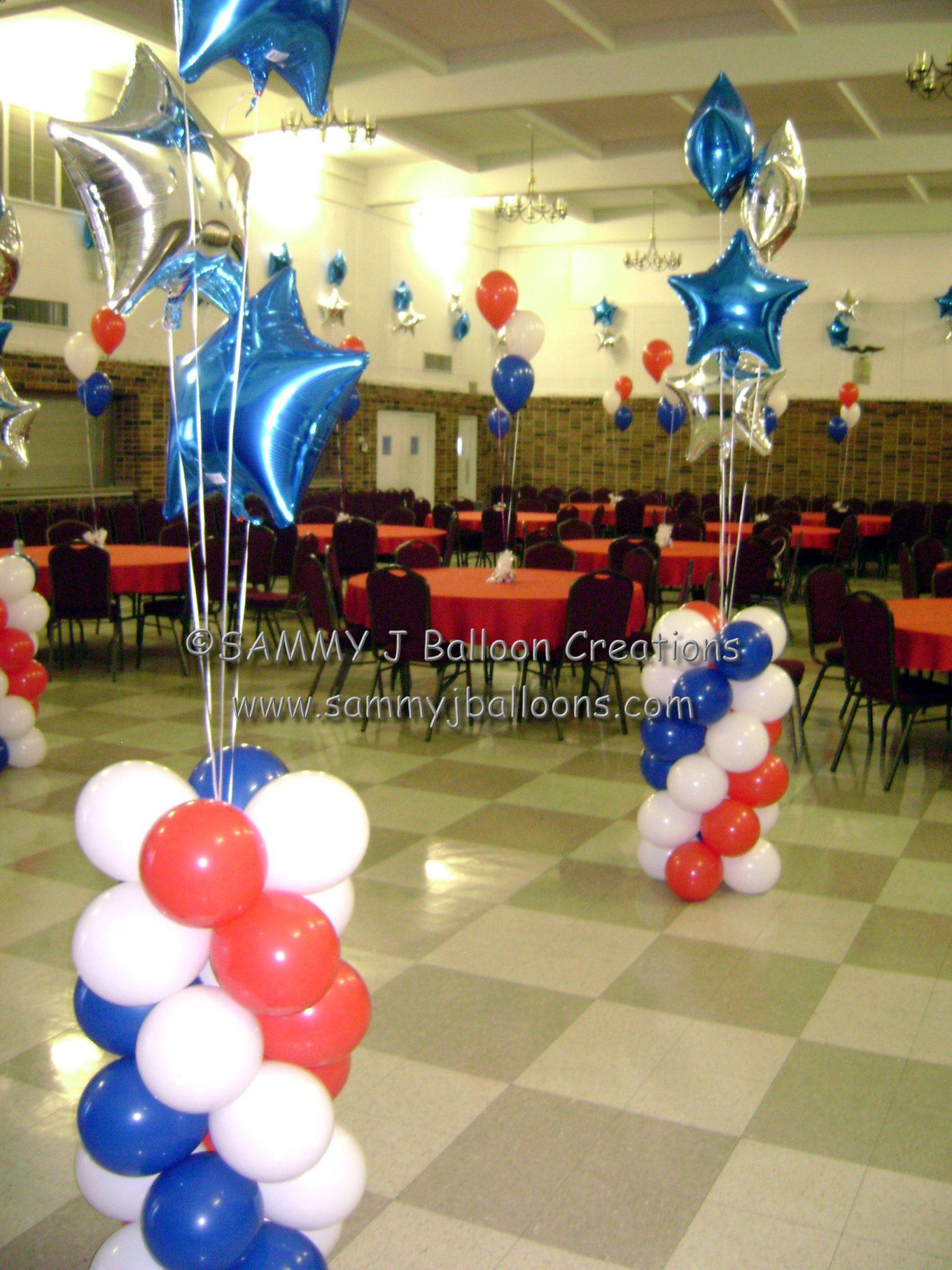 SAMMY J Balloon Creations st louis balloons patriotic column stars
