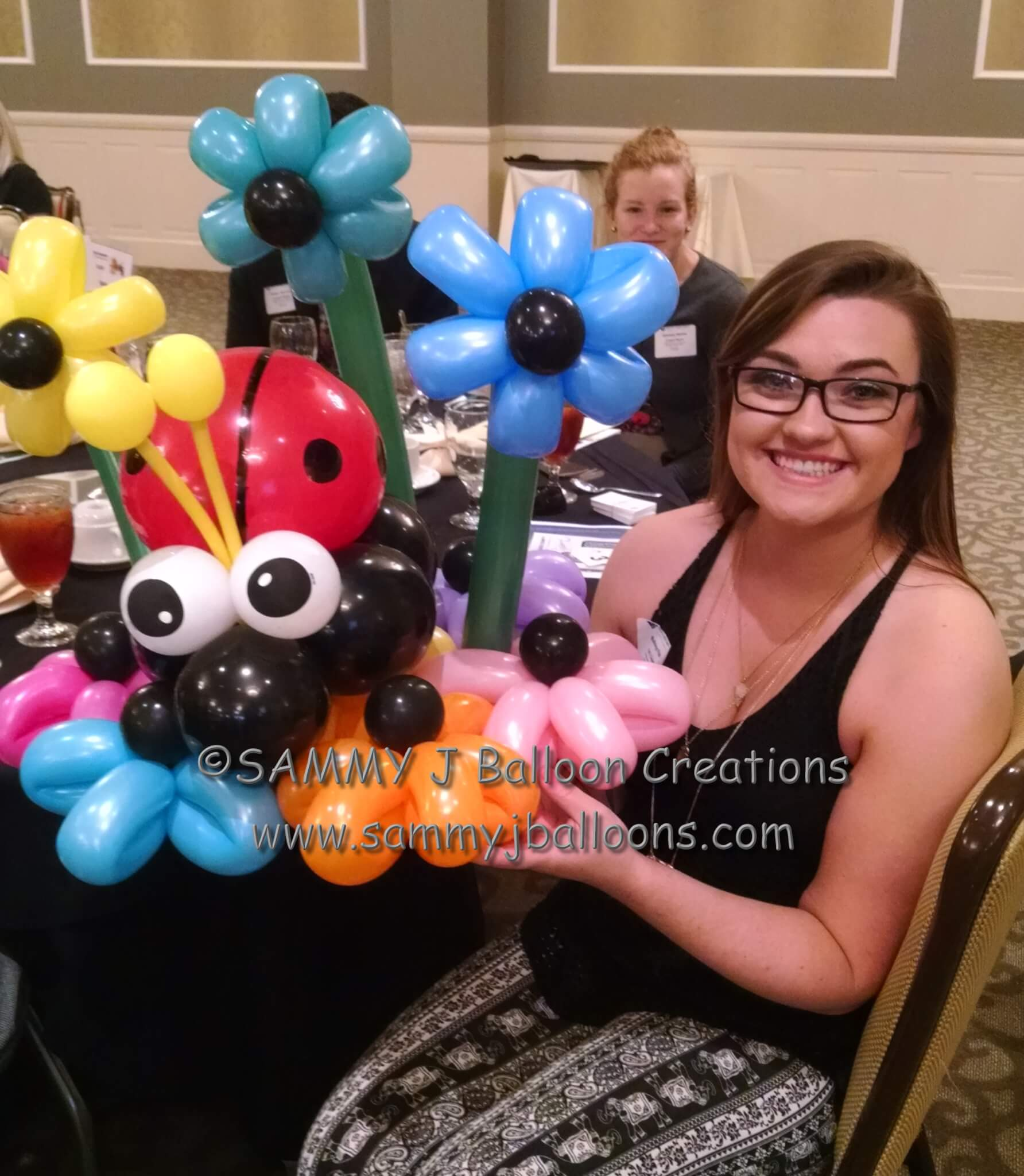 SAMMY J Balloon Creations st louis balloons ladybug flower bouquet