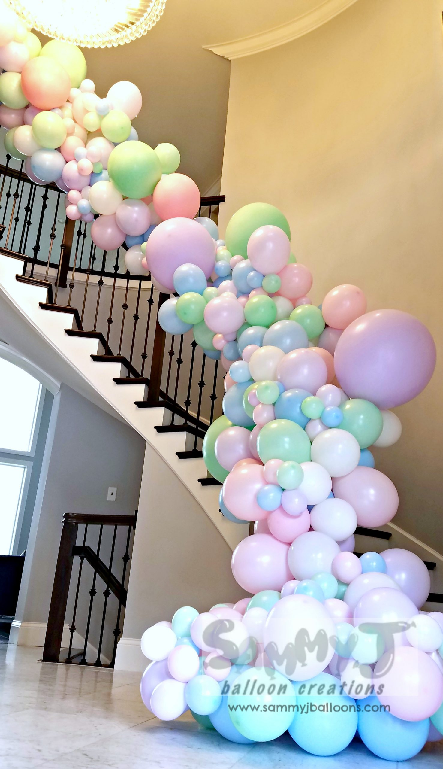 SAMMY J Balloon Creations st louis balloons organic garland staircase